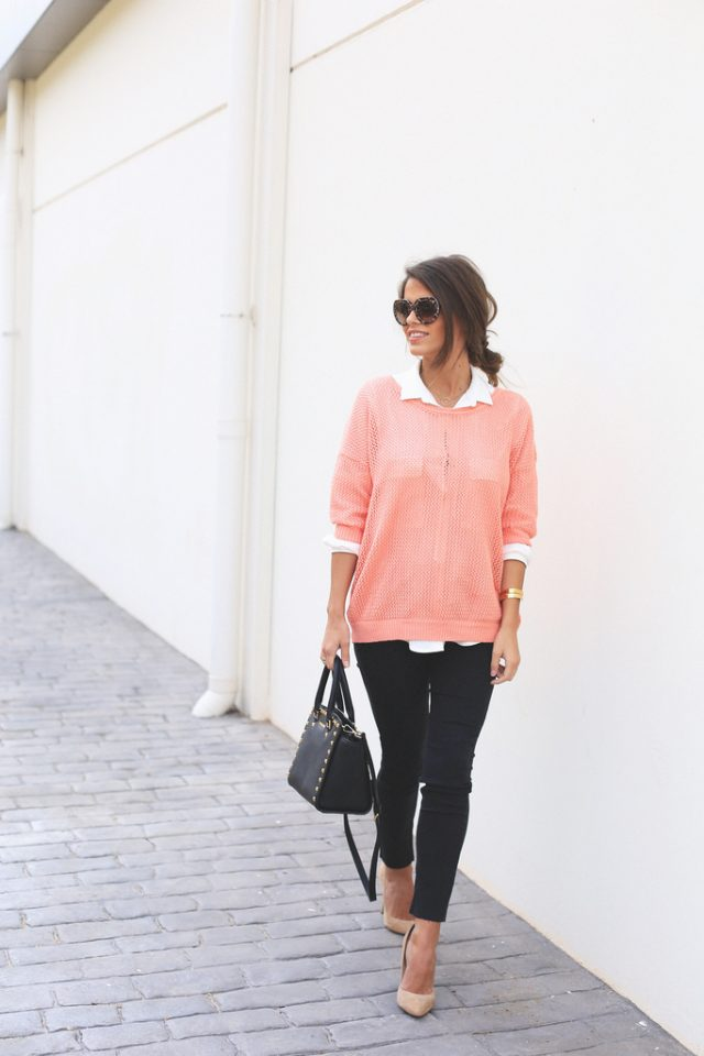 Pink Sweater and White Shirt via