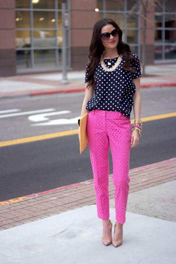 Polka Dot Top and Pink Pants via