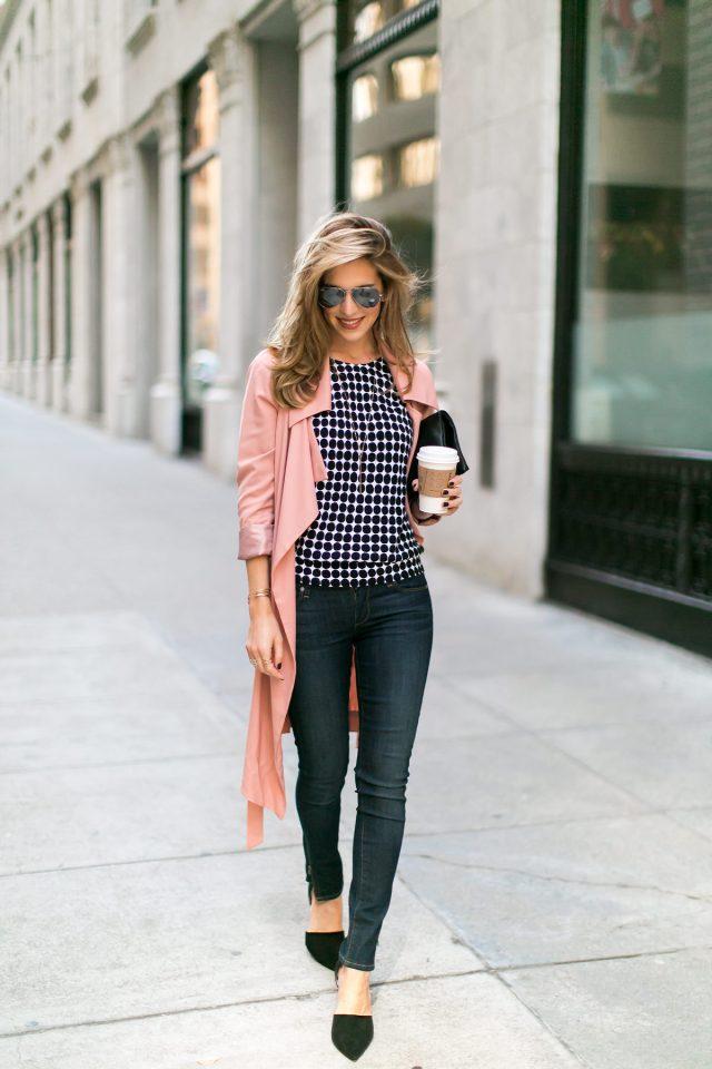 Polka Dot Top and Pink Trench Coat via