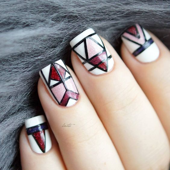 Red, Pink and White Nails via