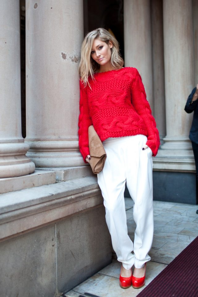 Red Sweater, White Pants and Red High Heels via