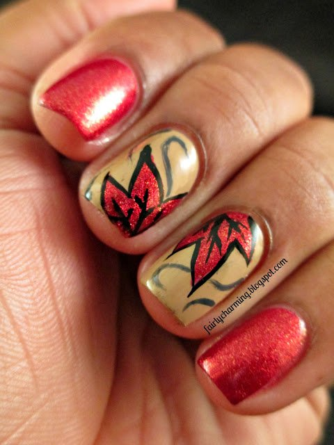Red and Golden Nails via