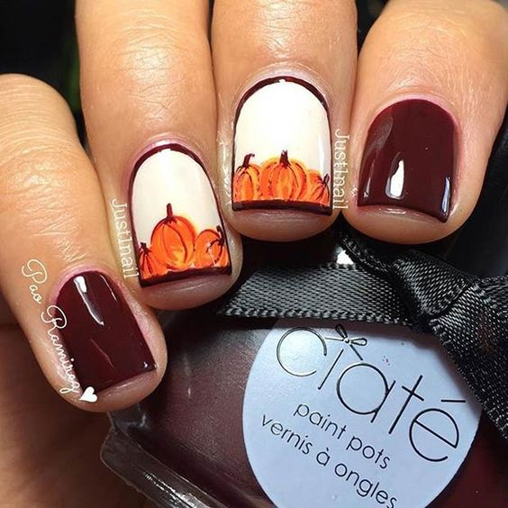 Red and White Nails with Pumpkins via