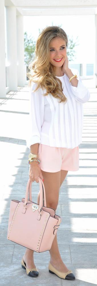 Stripe Top, Pink Shorts and Pink Bag via