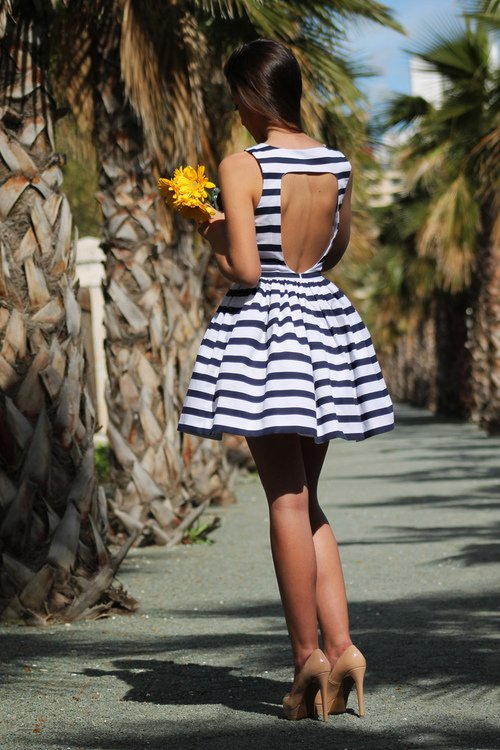 Striped Backless Dress via