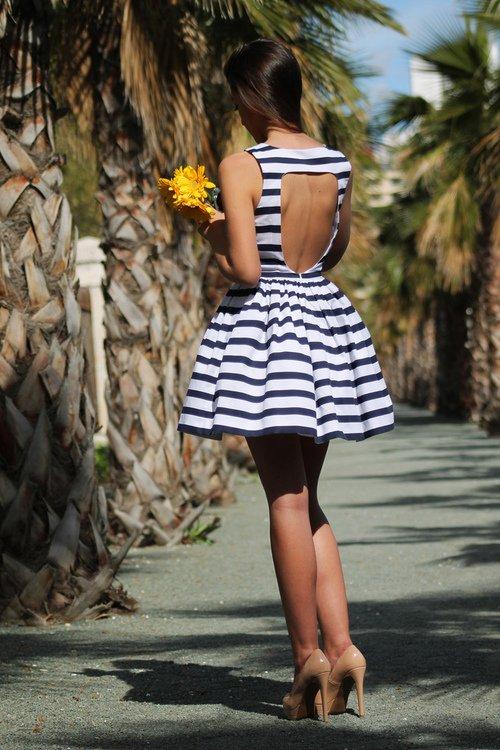 Striped Backless Dress via
