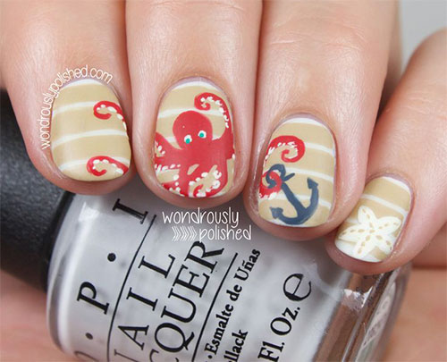 Striped Nails with Octopus and Anchor via