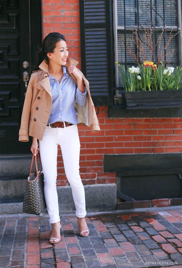 Striped Shirt, White Pants and Nude Jacket via