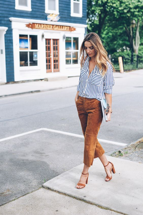 Striped Shirt and Brown Cropped Top via