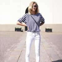 Striped T-shirt, White Pants and Red Sandals via