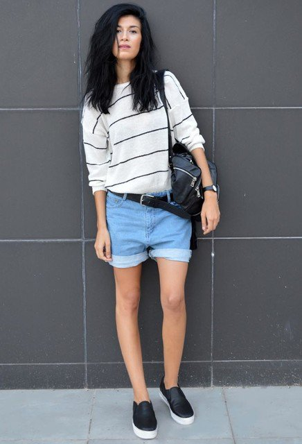 Striped Top and Rolled Shorts via