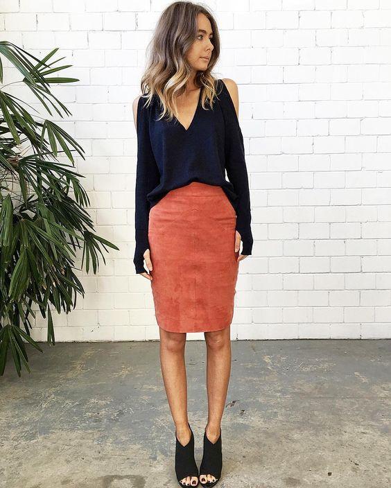 Suede Skirt via