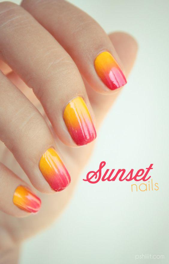 Sunset Nail Art via
