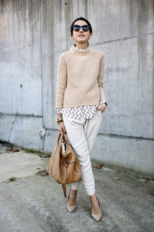 Sweater and White Pants via