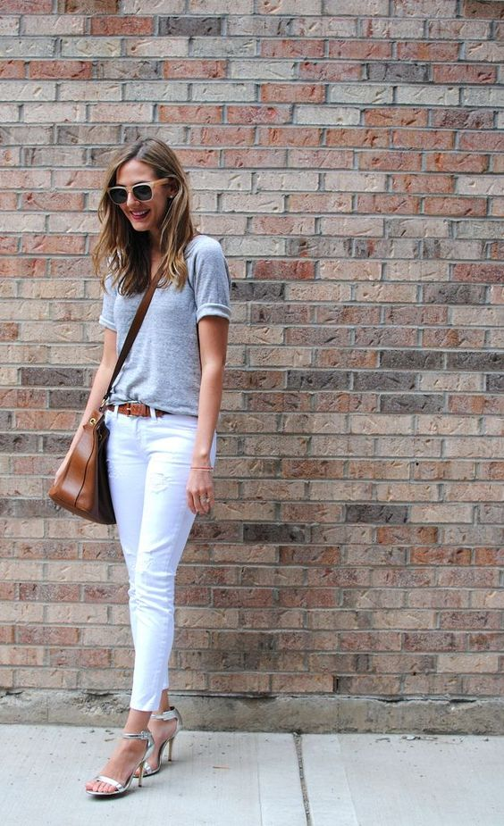 T-shirt, White Pants and Sandals via