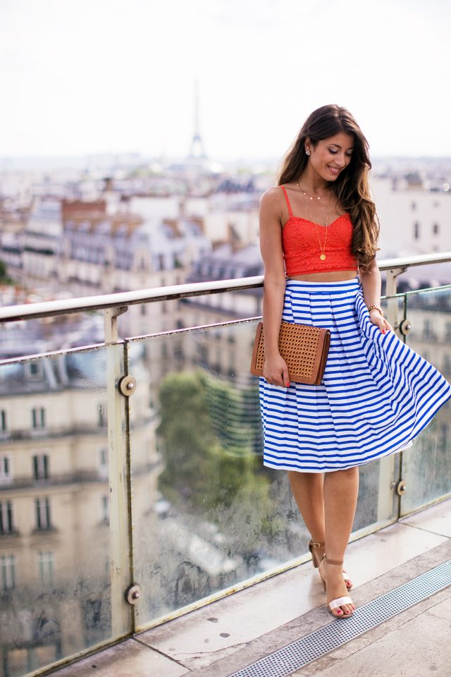Tank Top and Striped Skirt via