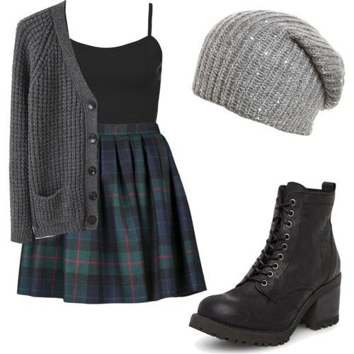 Tartan Skirt and Grey Cardigan via
