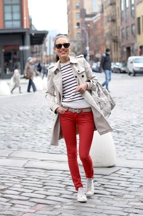 Trench Coat and Red Pants via