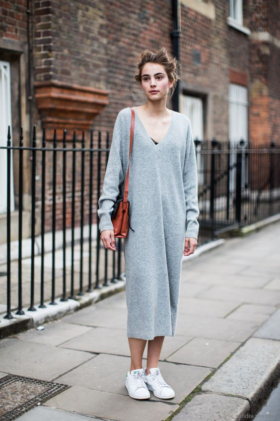 V-neck Knit Dress and White Sneakers via