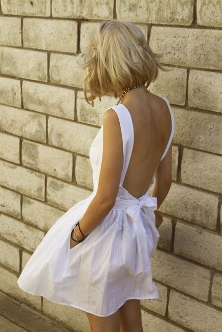 White Backless Dress with Bows via