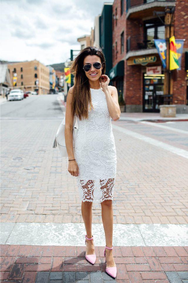 White Crochet Dress and Pink Heels via