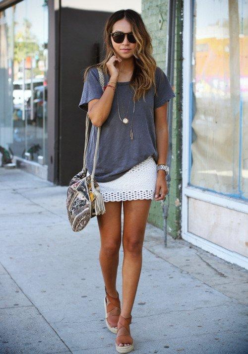 White Crochet Skirt via