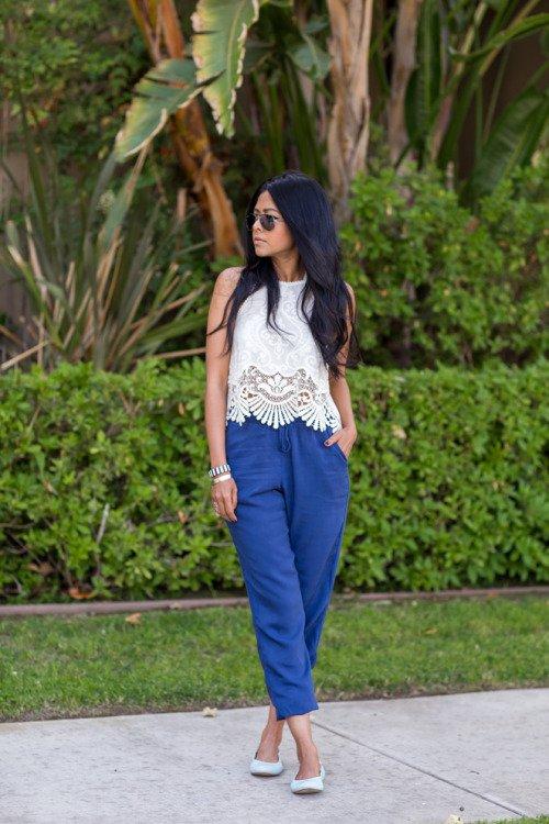 White Crochet Top and Blue Wide-leg Pants via