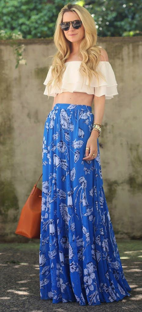 White Crop Top and Patterned Skirt via