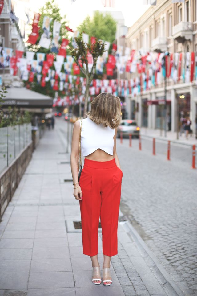 White Crop Top and Red Pants via