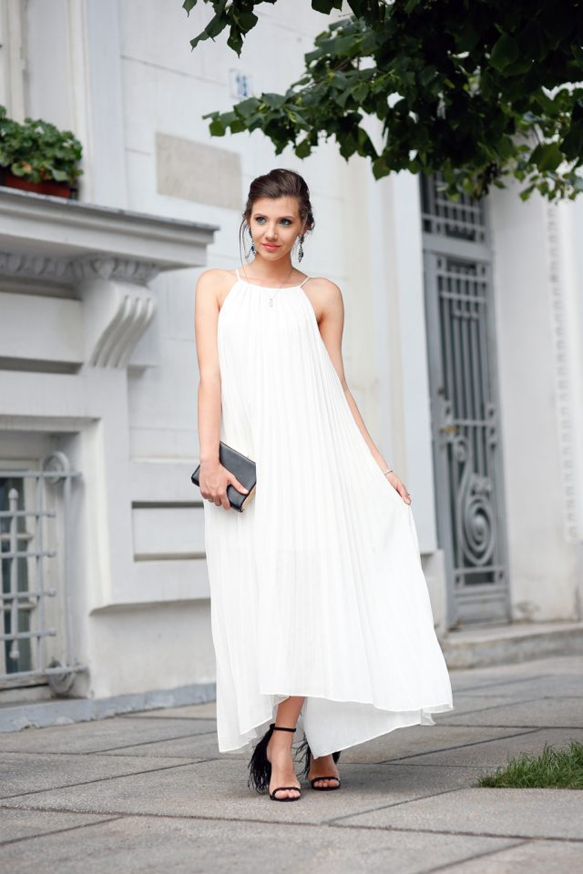 White Dress with Black Sandals via
