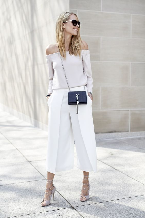 White Flare Pants and Off-shoulder Top via