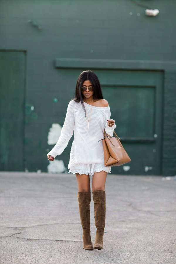 White Knit Dress and Brown Boots via