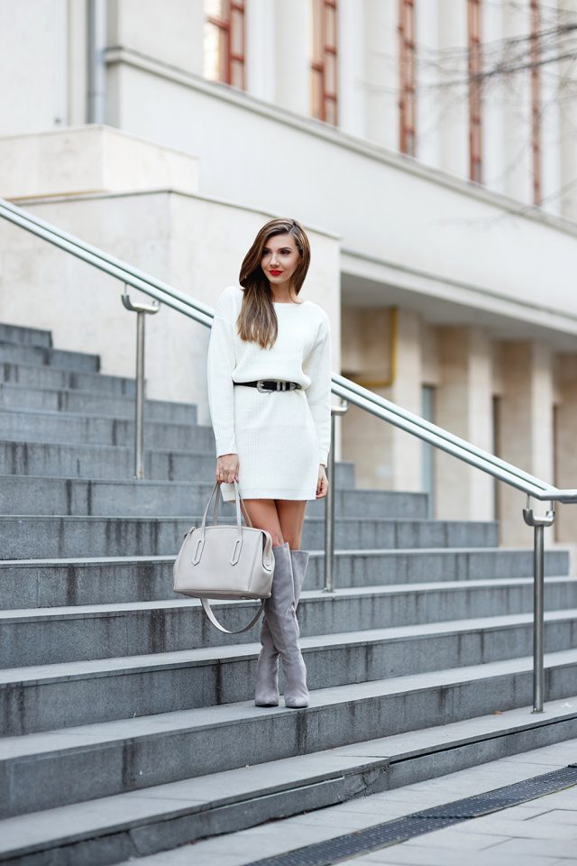 White Knit Dress and Grey Boots via