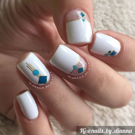 White Nails with Blue Squares via