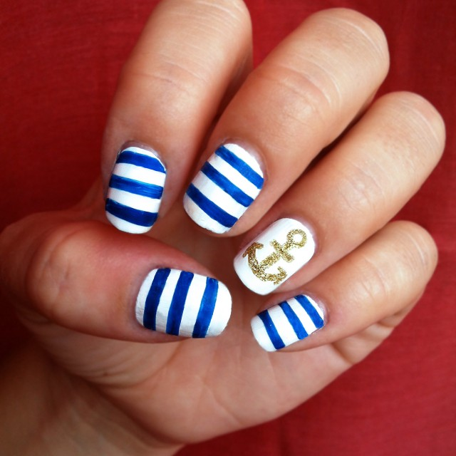 White Nails with Blue Stripes via