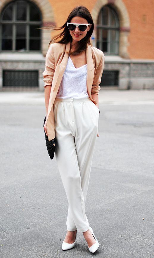 White Outfit and Camel Blazer via