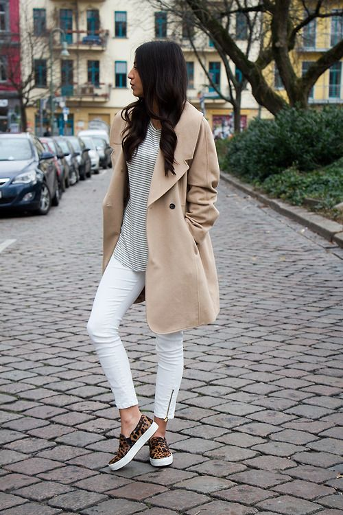 White Pants, Striped Top, Camel Blazer and Leopard Loafers via