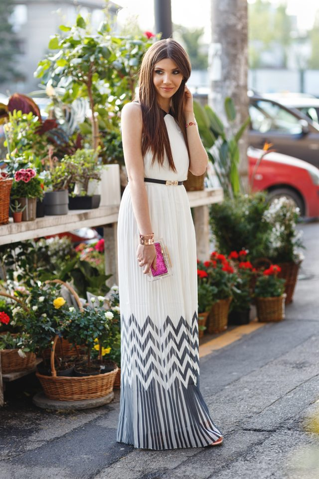 White Pleated Dress with Zigzag Patterns via