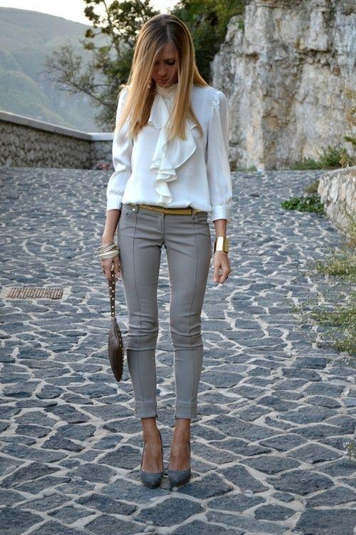 White Shirt and Grey Pants via