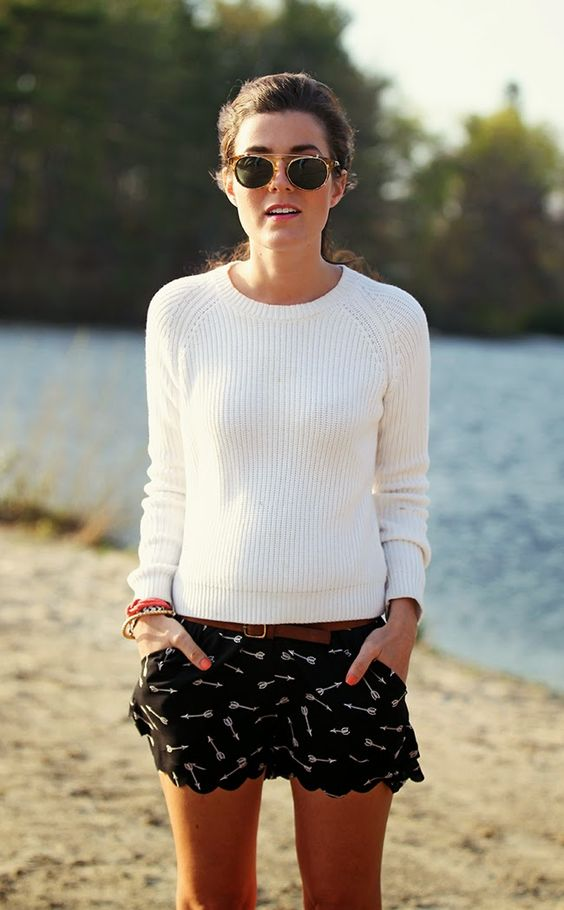 White Sweater and Patterned Shorts via