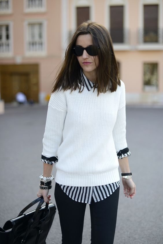 White Sweater and Striped Shirt via
