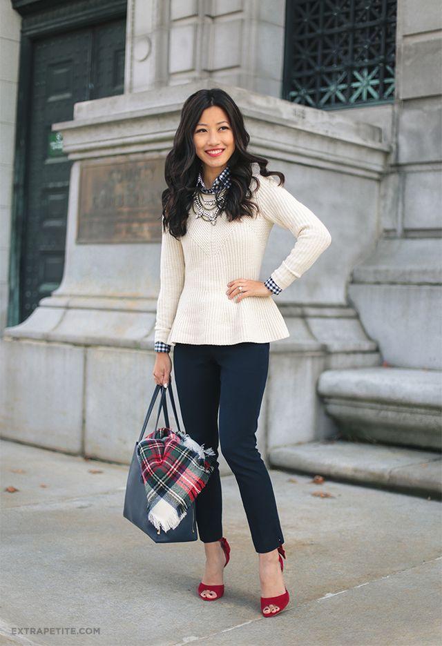 White Sweater and Tartan Shirt via