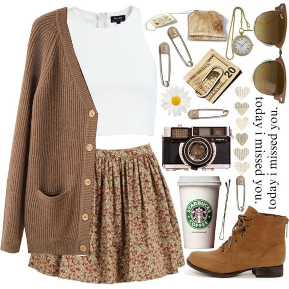 White Top, Floral Skirt and Brown Cardigan via