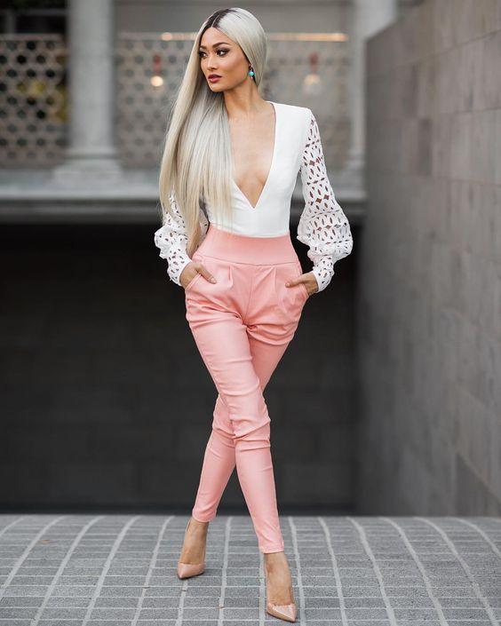 White Top and Pink Pants via