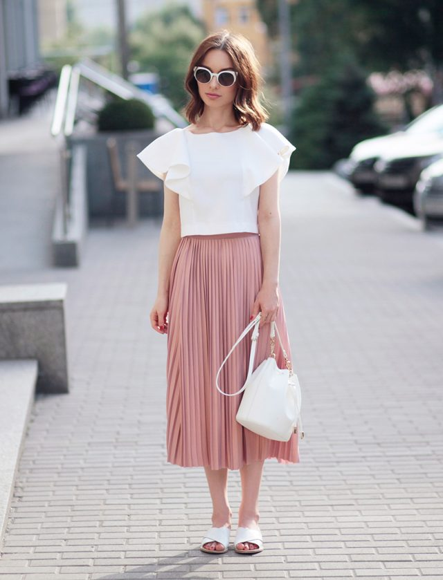 White Top and Pink Skirt via