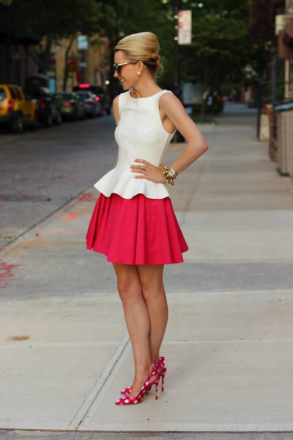 White Top and Red Skirt via