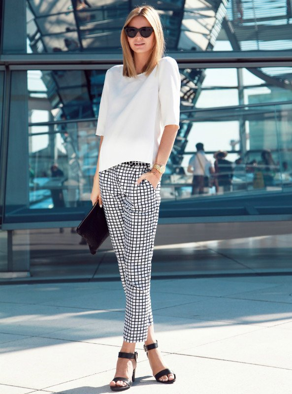 White Top and Tartan Cropped Pants via