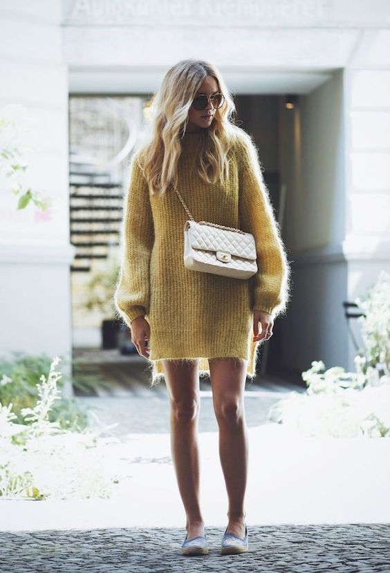 Yellow Knit Dress and Flats via