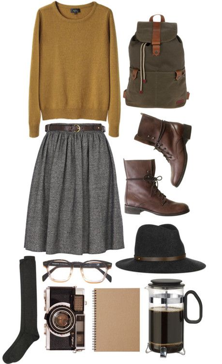 Yellow Sweater and Grey Skirt via