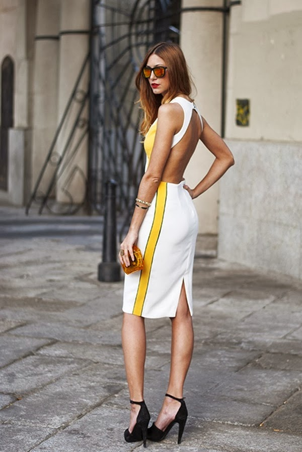 Yellow and White Backless Dress via